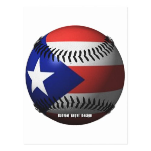 Puerto Rico Flag Covering a Baseball Postcard