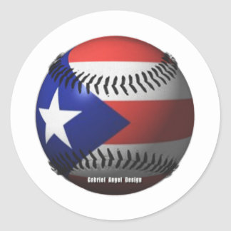 Puerto Rico Flag Covering a Baseball Stickers