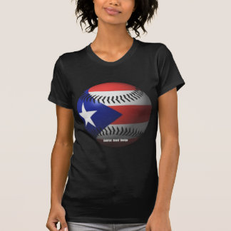 Puerto Rico Flag Covering a Baseball T-Shirt