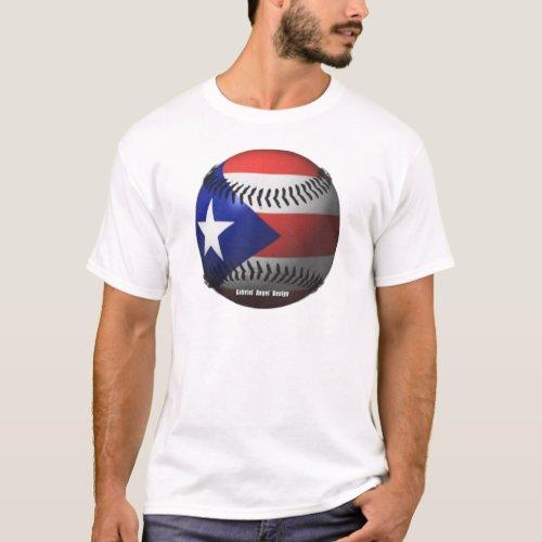 Puerto Rico Flag Covering a Baseball T_Shirt