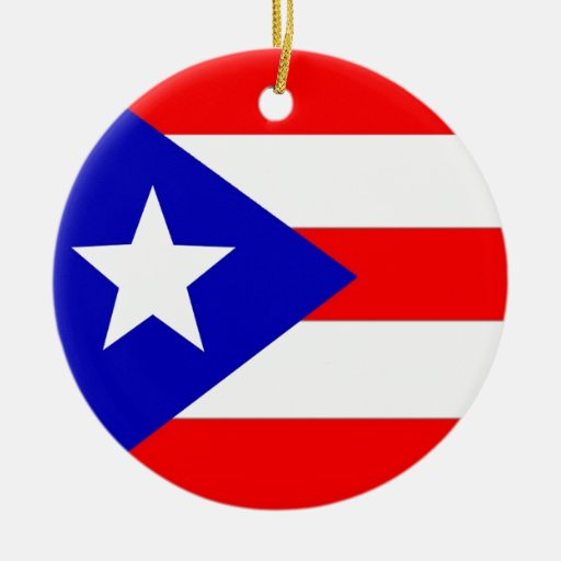 Puerto Rico Flag Double-Sided Ceramic Round Christmas
