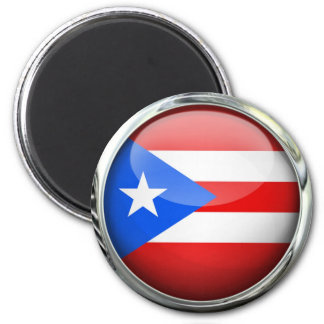 Puerto Rico Flag Glass Ball Magnet