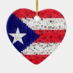 Puerto Rico Flag glitter ornament