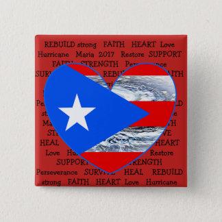 Puerto Rico Flag Hurricane Maria 2017 Button