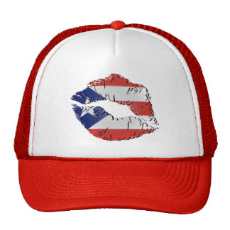 Puerto Rico Flag Lips Trucker Hats