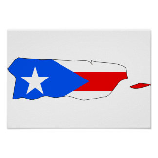 Puerto Rico Flag Map Poster