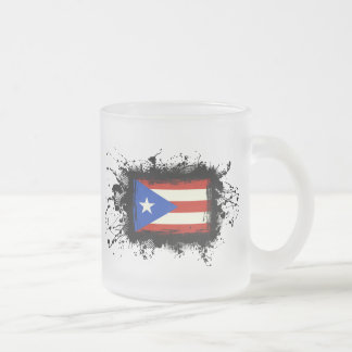 Puerto Rico Flag 10 Oz Frosted Glass Coffee Mug