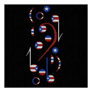 Puerto Rico Flag Musical Notes Poster