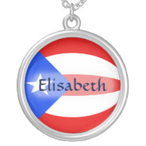 Puerto Rico Flag   Name Necklace
