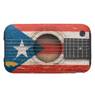 Puerto Rico Flag on Old Acoustic Guitar iPhone 3 Tough Case