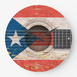 Puerto Rico Flag on Old Acoustic Guitar Wall Clock