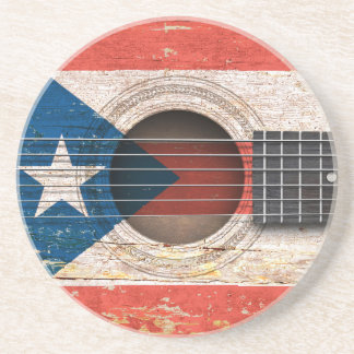 Puerto Rico Flag on Old Acoustic Guitar Beverage Coasters