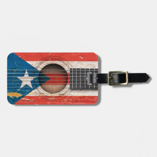 Puerto Rico Flag on Old Acoustic Guitar Luggage Tag