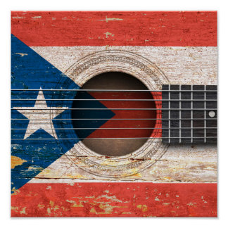 Puerto Rico Flag on Old Acoustic Guitar Poster