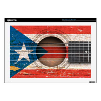 """Puerto Rico Flag on Old Acoustic Guitar 17"""" Laptop Decals"""