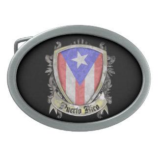 Puerto Rico Flag - Shield Crest Oval Belt Buckle