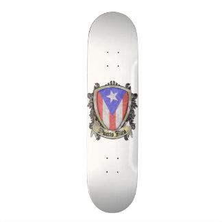 Puerto Rico Flag - Shield Crest Skateboard Deck