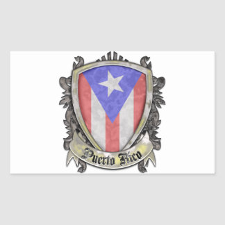 Puerto Rico Flag - Shield Crest Rectangular Stickers