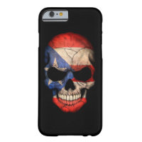 Puerto Rico Flag Skull on Black Barely There iPhone 6 Case