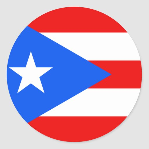 Puerto Rico Flag Round Stickers