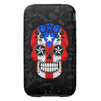 Puerto Rico Flag Sugar Skull with Roses Tough iPhone 3 Cases