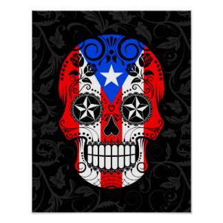 Puerto Rico Flag Sugar Skull with Roses Poster