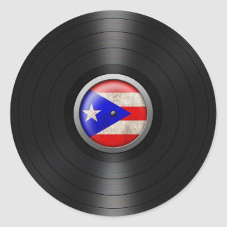 Puerto Rico Flag Vinyl Record Album Graphic Classic Round Sticker