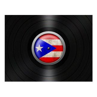 Puerto Rico Flag Vinyl Record Album Graphic Postcard