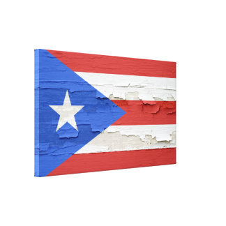 Puerto Rico Flag Weathered Paint Canvas Print