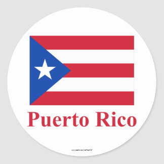 Puerto Rico Flag with Name Classic Round Sticker