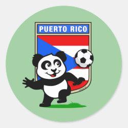Round Sticker with Puerto Rico Football Panda design