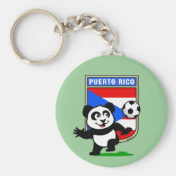 Basic Button Keychain with Puerto Rico Football Panda design