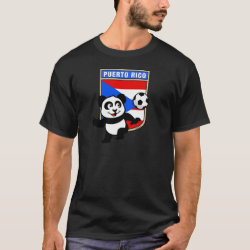 Men's Basic Dark T-Shirt with Puerto Rico Football Panda design