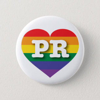 Puerto Rico Gay Pride Rainbow Heart - Big Love Button