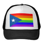 puerto rico gay proud rainbow flag homosexual trucker hat