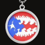 Puerto Rico Gnarly Flag Silver Plated Necklace