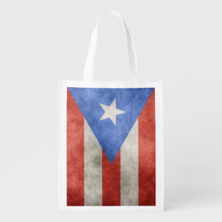 Puerto Rico Grunge Flag Two-Sided Market Totes