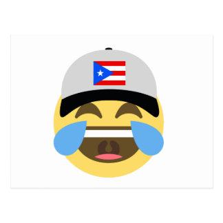 Puerto Rico Hat Laughing Emoji Postcard