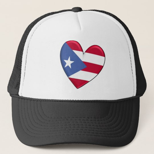 Puerto Rico Heart Flag Trucker Hat