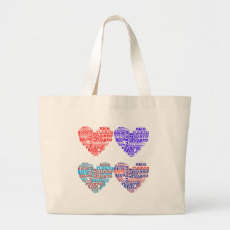 Puerto Rico Hearts Products Large Tote Bag