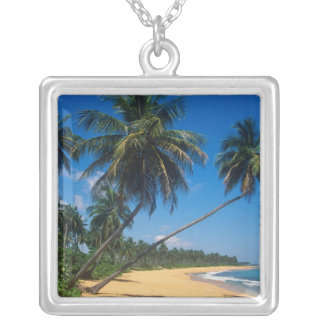 Puerto Rico, Isla Verde, palm trees. Silver Plated Necklace