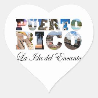 Puerto Rico La Isla Del Encanto Collage / Montage Heart Sticker