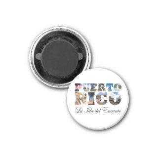 Puerto Rico La Isla Del Encanto Collage / Montage 1 Inch Round Magnet