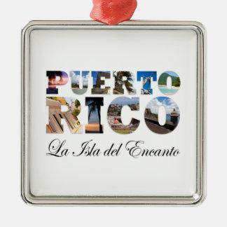 Puerto Rico La Isla Del Encanto Collage / Montage Square Metal Christmas Ornament