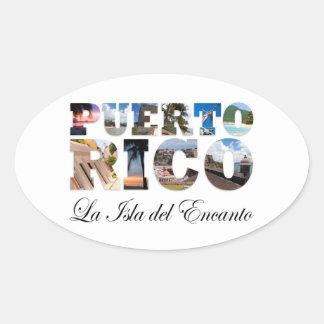 Puerto Rico La Isla Del Encanto Collage / Montage Oval Sticker