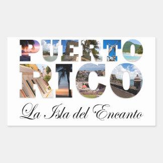 Puerto Rico La Isla Del Encanto Collage / Montage Rectangular Sticker