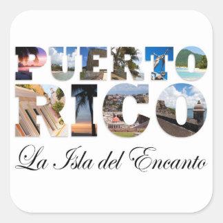 Puerto Rico La Isla Del Encanto Collage / Montage Square Sticker
