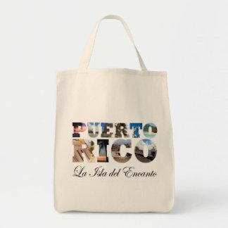 Puerto Rico La Isla Del Encanto Collage/montaje Bolsa Tela Para La Compra