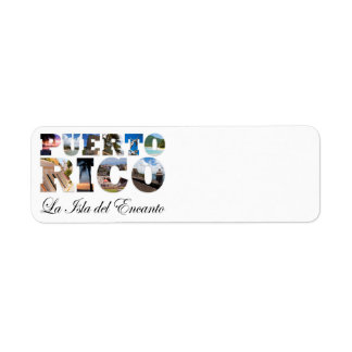 Puerto Rico La Isla Del Encanto Collage/montaje Etiqueta De Remitente