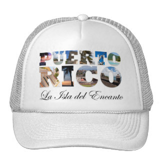 Puerto Rico La Isla Del Encanto Collage/montaje Gorros Bordados